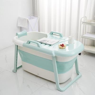 婴儿浴盆折叠泡澡桶智扣成人折叠浴桶加厚家用 儿童款折叠粉色(上下)