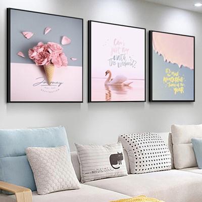 北歐客廳裝飾畫沙發背景墻壁畫古達現代簡約三聯畫臥室 香檳色 70*70【適合3.5米左右墻面】25mm厚板+防水布紋膜+