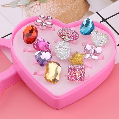 【精品好貨】兒童戒指女公主可愛卡通首飾品女童寶寶玩具指環小女孩創意小禮品 12只裝寶石款1