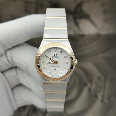 【二手95新】歐米茄 星座系列18K玫瑰金后鑲鉆石英女表123.20.24.60.55.001手表