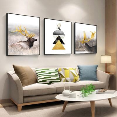 北歐客廳裝飾畫沙發背景墻壁畫古達現代簡約三聯畫臥室 深灰色 60*60【適合3米左右墻面】25mm厚板+防水布紋膜+立體