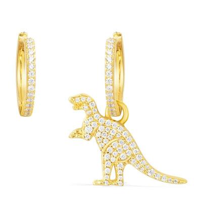 APM MONACO【周冬雨明星同款】 女士不對稱鑲晶鉆S925純銀耳飾恐龍黃色耳環 AE10238OXY
