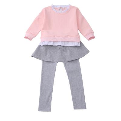 女童套裝長袖春裝中大童衛衣兩件女孩裙褲套粉色上衣+裙褲2件套