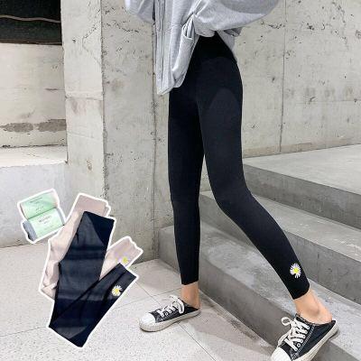 春季新款打底褲女網紅小雛菊刺繡棉質時尚黑色九分褲百搭顯瘦