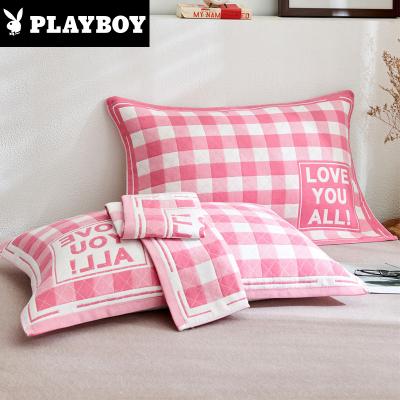 花花公子(PLAYBOY)家紡 純棉枕巾一對裝全棉吸汗紗布枕頭巾單人學生簡約成人歐式情侶枕巾