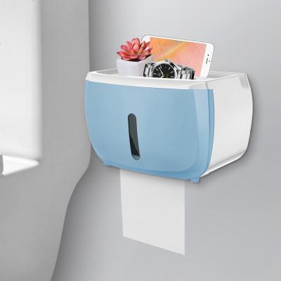 衛生紙盒衛生間紙巾廁紙置物架廁所家用免打孔創意防水抽紙卷紙筒 單層睿智藍