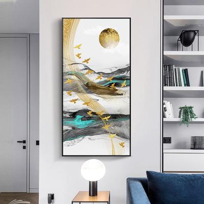 舒廳 玄關裝飾畫現代輕奢晶瓷畫金色琉璃抽象山水掛畫客廳沙發背景壁畫美 極光C款(拉絲黑色)鋁合金外框高100*寬50cm