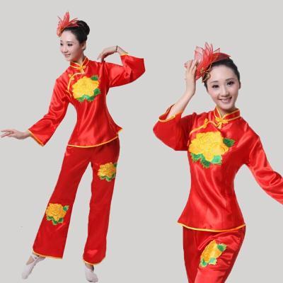 秧歌服女套裝中老年民族扇子表演舞蹈演出腰鼓打鼓廣場舞服裝