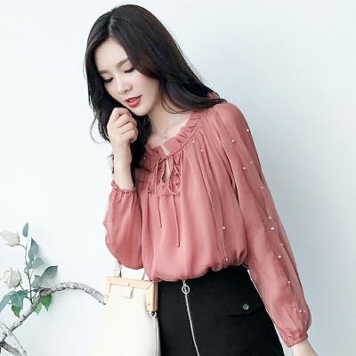 朗衣贝(Lang Yi Bei)2020春装新款钉珠甜美气质长袖衬衫女秋装韩版雪纺衫网纱镂空袖上衣潮299##