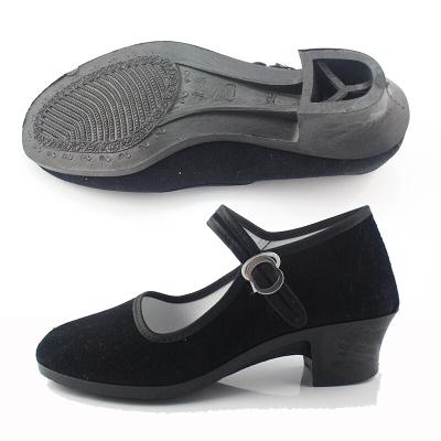 因樂思(YINLESI)民舞鞋兒童民族舞蹈鞋民舞考級黑布跳舞鞋廣場舞老北京布鞋跟鞋可定制 黑色