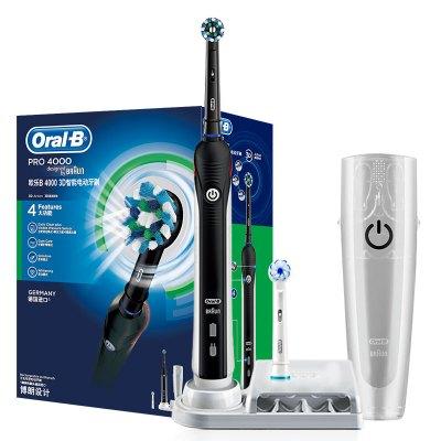 歐樂B(Oralb)電動牙刷 3D聲波震動成人充電式牙刷 P4000 黑色  德國進口