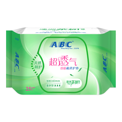 ABC 劲吸棉柔护垫163mm*25片澳洲茶树精华(新老包装随机发货)