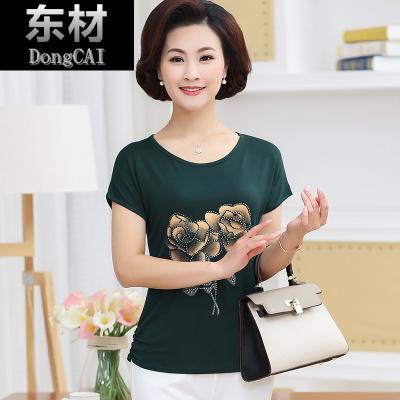 中老年女裝短袖T恤40-50歲中年媽媽裝夏季莫代爾棉老年上衣汗衫