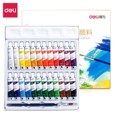 得力(deli) 73864 24色5ml學生美術專用入門級水粉畫繪畫顏料 水粉顏料