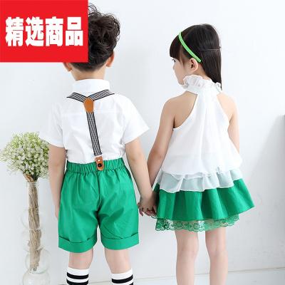 女孩連衣裙2020版校服中小學生班服兒童表演服幼兒園園服夏季 男孩 120=100cm左右