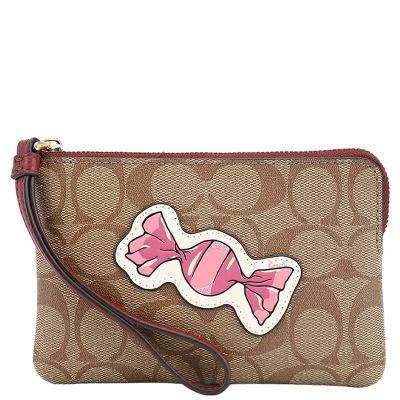 【直营】蔻驰(COACH) 拉链图案特别款 皮革/涂层帆布女士手拿包 女包 零钱包 钱包 卡
