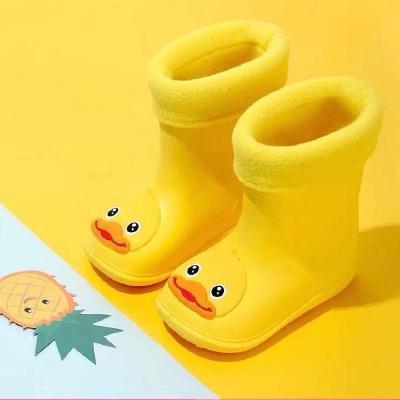 兒童雨鞋小黃鴨防滑男女學生防水鞋小童幼兒寶寶保暖雨靴冬季加絨 衫伊格(shanyige)