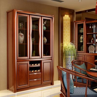 青木川 客厅实木酒柜靠墙 玄关柜餐边柜家用玻璃酒柜 木质茶水柜碟柜储物柜 客厅厨房 简约现代中式
