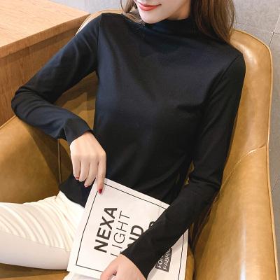 有怡T恤女春秋韩版2019新款高领套头长袖加厚打底衫女装