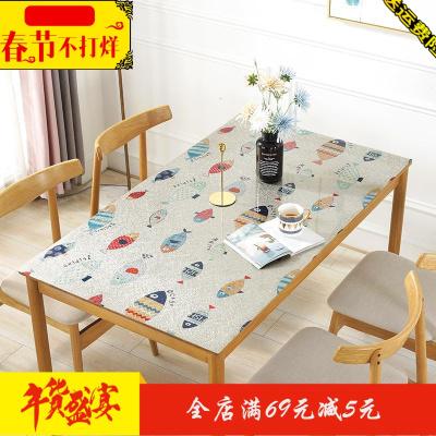 卡通长方形餐桌布pvc家用餐桌垫塑料防水耐高温。网红胶皮子金色