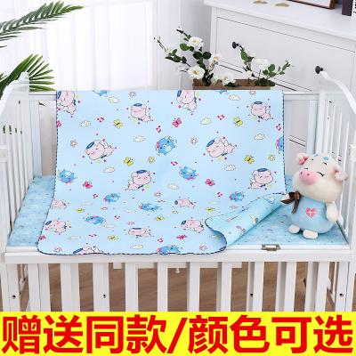 嬰兒水晶絨隔尿墊防水透氣可洗寶寶雙面防漏床墊兒童超大號護理墊 藍色系(送同款) 90x70cm