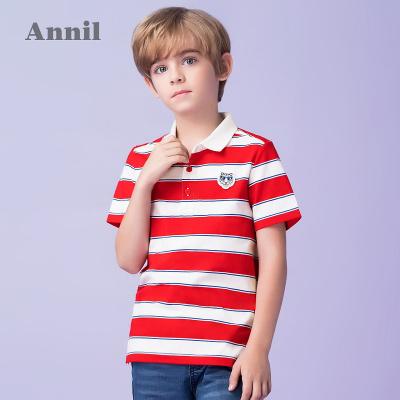安奈儿童装男童POLO衫短袖夏季薄新款中大童纯棉翻领条纹T恤