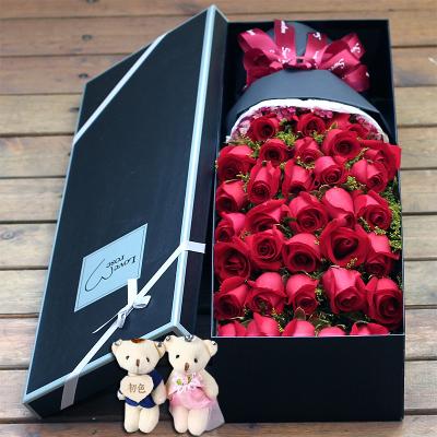 五二零 鮮花速遞全國 33朵紅玫瑰花禮盒 女朋友愛人生日禮物花束預定 北京杭州南京成都重慶廣州同城花店送花上門