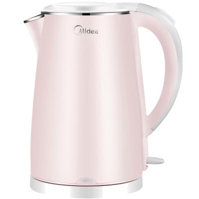 美的电水壶 WHJ1705b 1.7L 大容量 双层防烫 食品级不锈钢 防干烧 电热水瓶电水壶 裸粉色 304不锈钢