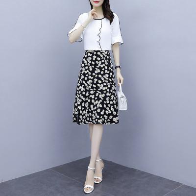 班俏BANQIAO兩件套連衣裙女夏2020新款顯瘦氣質輕熟風小雛菊雪紡碎花套裝裙子