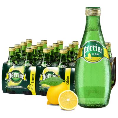 【檸檬玻璃瓶】巴黎水(Perrier)天然氣泡礦泉水(檸檬味)玻璃瓶裝 330ml*24瓶/箱 進口飲用水 法國進口
