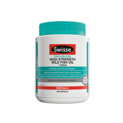 swisse澳洲進口軟膠囊Omega-3 非魚肝油成人中老年降輔助降血脂血壓 高濃度野生深海魚油1500mg 400粒