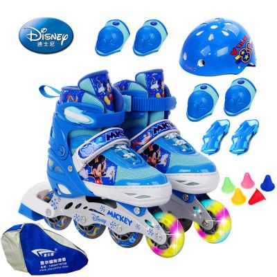 DISNEY/迪士尼蓝色米奇溜冰鞋闪光轮儿童全套装女男直排轮滑旱冰鞋可调轮滑鞋