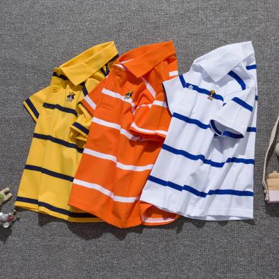 童裝夏季男童短袖T恤棉兒童短袖T恤衫中大童條紋翻領Polo衫上衣莎丞(SHACHEN)