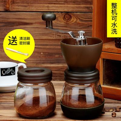 手動咖啡豆研磨機 手搖磨豆機家用小型水洗陶瓷磨芯手工粉碎器 (咖啡色)玻璃款(送玻璃罐+量勺+清潔刷)