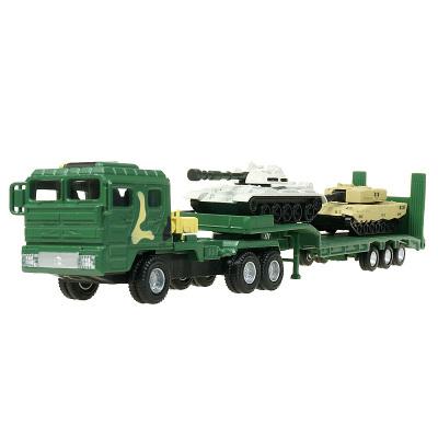 凯迪威 合金军事运输车模型1:64拖车带小坦克车军用儿童礼物玩具车模型拖车挂车金属车 军绿色 1:64合金模型