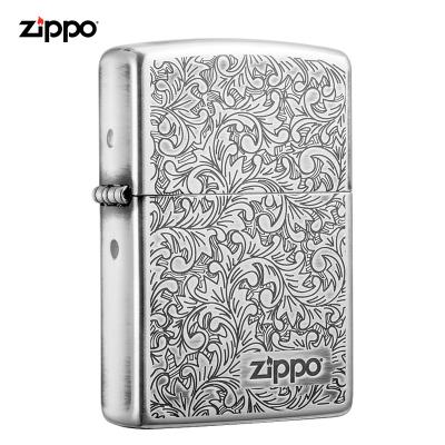 Zippo芝寶打火機防風煤油打火機之寶唐草ZBT-2-23c 唐草系列-白銀