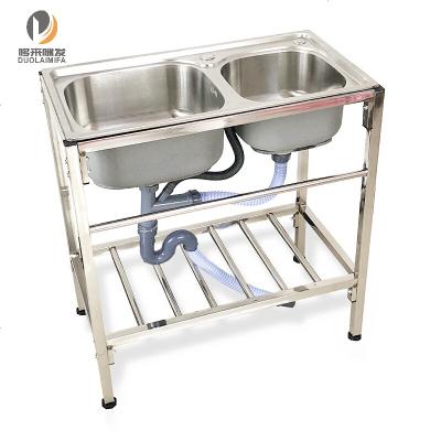 定做 廚房不銹鋼支架盆水槽雙槽帶支架定做洗菜洗臉洗碗洗手洗衣盆架子 普通鋼兩層13件套