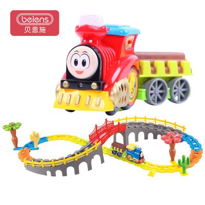 貝恩施 軌道車小火車 兒童益智玩具 電動積木玩具 多層立體拼接軌道車組2788