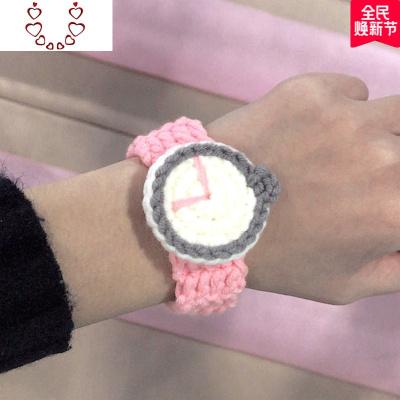手工編織毛線手表男女學生情侶款一對創意閨蜜可佩戴手鏈手繩 Chunmi M04粉線灰表盤(成品)