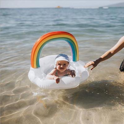 ins網紅加厚兒童亮片彩虹云朵座圈嬰幼兒游泳圈寶寶坐圈 亮片彩虹云朵座圈【0-4歲】