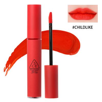 韓國3CE 新款情調唇彩液體口紅 絲絨啞光霧面唇釉4g 持久顯色 #Childlike番茄橘紅