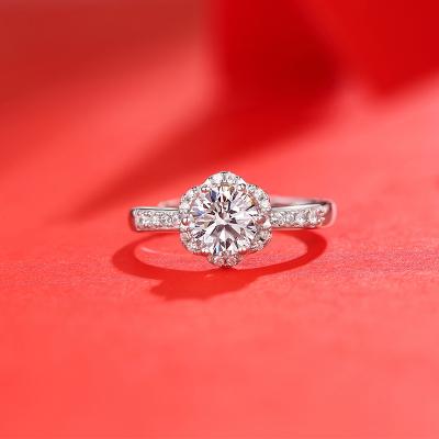 【錢掌柜】心花怒放戒指 進口D色一克拉莫桑石純銀戒指時尚飾品經典網紅潮人同款