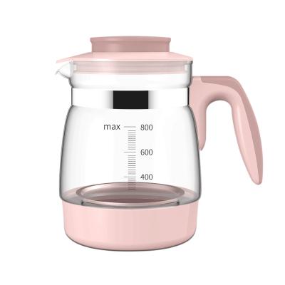 小壯熊,XIAOZHUANGXIONG耐高溫創意玻璃壺家用大容量冷水壺過濾燒水壺透明加厚茶壺KH-0886粉色800ml