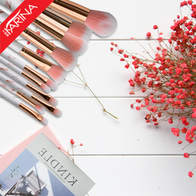 宝士美(BAOSHIMEI)大理石纹化妆刷套装10支装初学者美妆工具散粉腮红刷粉底刷眼影刷