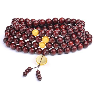 月印百川 小葉紫檀佛珠手串 高密度順紋108顆木珠蜜蠟平安扣手鏈