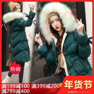 雅馨季2019棉衣中长款修身加厚通勤拉链连帽纯色气质大毛领时尚潮棉衣HZ118