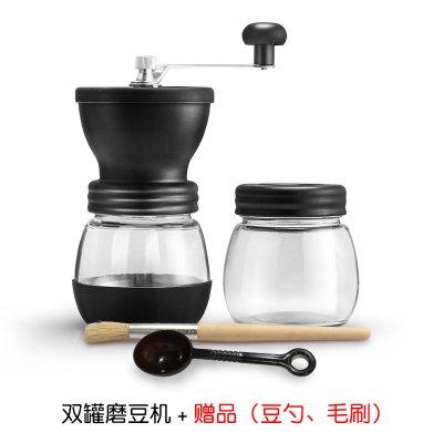 手搖磨豆機定制 家用咖啡豆研磨機定制 小型手動咖啡機磨粉機可水洗定制 雙罐水洗磨豆機(灰色)
