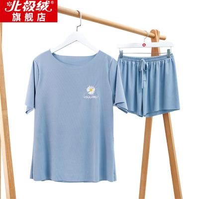 北極絨冰絲涼涼兩件套2020夏季小雛菊T恤仙女閨蜜宅宅套休閑短袖-北極絨-YBC-6802