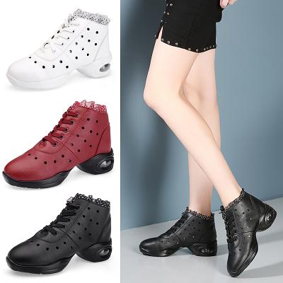 企順意夏季舞蹈鞋女跳舞鞋健身廣場舞鞋女皮面鏤空透氣軟底氣墊鞋女大碼