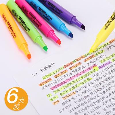 三木(SUNWOOD)熒光筆5506記號筆6支裝 筆記粗劃重點套裝彩色銀光的筆標記筆糖果色一套學生用
